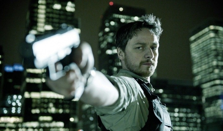 James McAvoy holds a gun in a shot from Welcome to the Punch